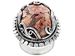 Brecciated Jasper Silver Solitaire Ring