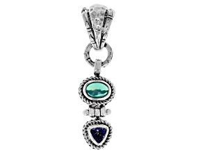 Paraiba Color Opal And Trillion Tanzanite Silver Pendant