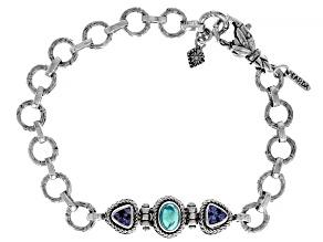 Paraiba Color Opal and Tanzanite Silver Bracelet 0.95ctw