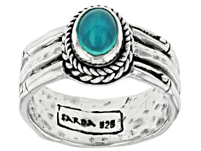 Paraiba Color Opal Silver Solitaire Ring 0.43ctw