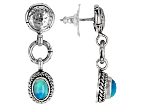 Paraiba Color Opal Silver Dangle Earrings 0.86ctw