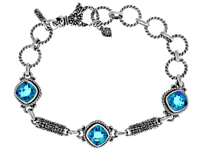 Rainbow Caribbean Quartz Triplet Silver Bracelet