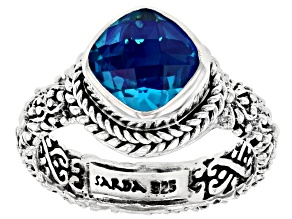 Rainbow Caribbean Quartz Triplet Silver Solitaire Ring