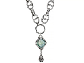 Green Chalcedony Triplet Silver Necklace