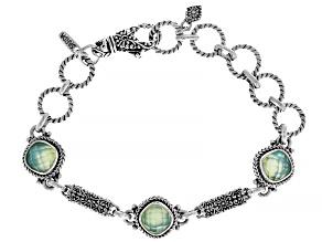 Green Chalcedony Triplet Silver Bracelet