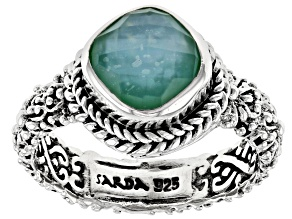 Green Chalcedony Triplet Silver Solitaire Ring