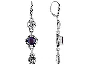 Ruby Triplet Silver Dangle Earrings