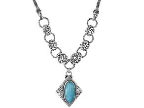 Amazonite Cabochon Silver Necklace