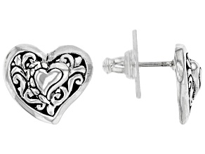 "Sterling Silver ""Love Never Ends"" Stud Earrings"