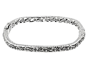 Sterling Silver Frangipani Flower Bangle Bracelet