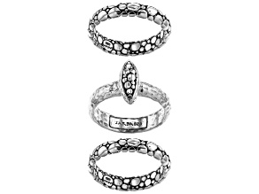"""Sterling Silver """"Faithful Servant"""" Stackable Set of 3 Rings"""