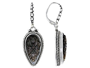Black Mother Of Pearl Sterling Silver Earrings