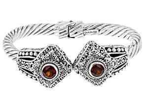 Red Hessonite Garnet Sterling Silver Cuff Bracelet 2.18ctw
