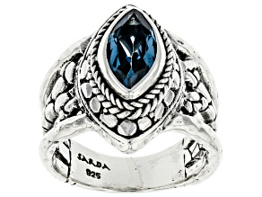 London Blue Topaz Sterling Silver Solitaire Ring 1.66ct