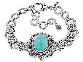 Blue Mexican Turquoise Sterling Silver Bracelet