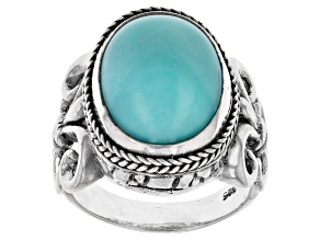 Blue Mexican Turquoise Sterling Silver Solitaire Ring