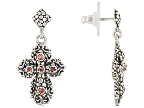Orange Sapphire Sterling Silver Cross Earrings .20ctw