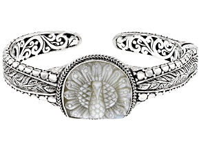 Carved White Mother-Of-Pearl Peacock Sterling Silver Bracelet
