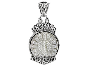 Carved White Mother-Of-Pearl Peacock Sterling Silver Pendant