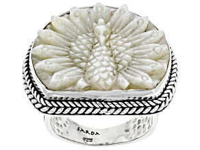 Carved White Mother-Of-Pearl Peacock Sterling Silver Ring