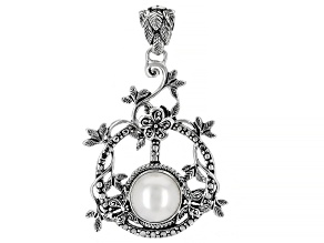 White Cultured Mabe Pearl Sterling Silver Pendant