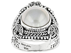 White Cultured Mabe Pearl Sterling Silver Ring