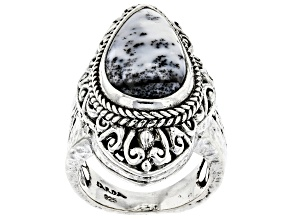 Multi-Color Dendritic Agate Sterling Silver Solitaire Ring