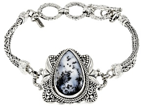 Multi-Color Dendritic Agate Sterling Silver Bracelet