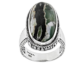 Green Opal Sterling Silver Solitaire Ring
