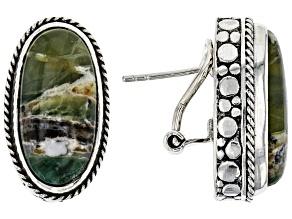 Green Opal Sterling Silver Earrings
