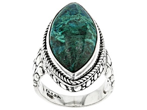 Green Chrysocolla Sterling Silver Solitaire Ring