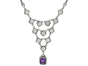 Purple Amethyst Sterling Silver Necklace 4.17ct