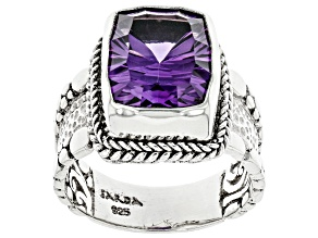 Purple Amethyst Sterling Silver Solitaire Ring 4.17ct