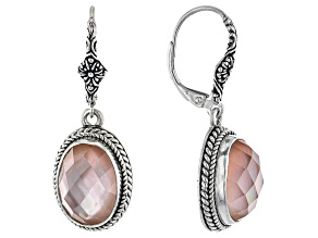 Pink Morganite Color Mother-Of-Pearl Triplet Silver Earrings