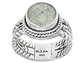 Green Prehnite Sterling Silver Solitaire Ring