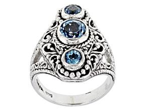Blue Topaz Silver Ring 1.34ctw