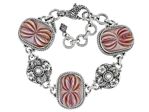 Pink Shell And Cultured Freshwater Pearl Silver Bracelet