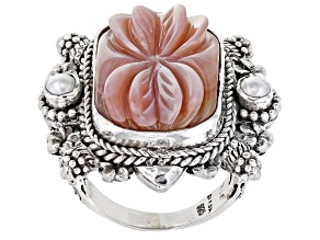 Pink Lotus Shell And Cultured Freshwater Pearl Silver Ring
