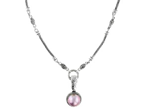 Pink Cultured Mabe Pearl Sterling Silver Necklace