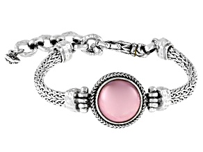 Pink Cultured Mabe Pearl Sterling Silver Bracelet