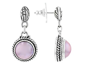 Pink Cultured Mabe Pearl Sterling Silver Earrings