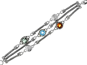 Multi-Gemstone Silver Bracelet 5.65ctw