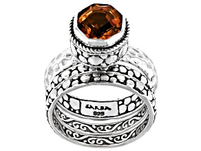 Citrine Sterling Silver Stackable Set of 3 Rings 1.70ct
