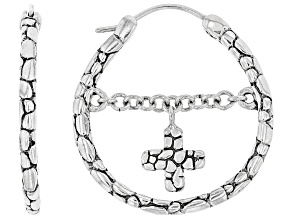 """Sterling Silver """"Live By Faith"""" Hoop Earring"""
