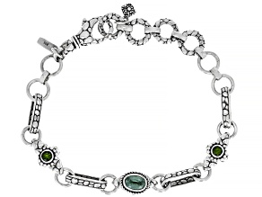 Mint Kyanite and Chrome Diopside Silver Bracelet 1.10ctw