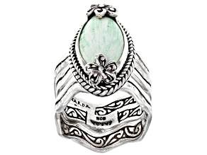 Green Variscite Silver Stackable Ring With Bands