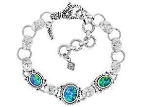 Australian Opal Triplet Silver Bracelet