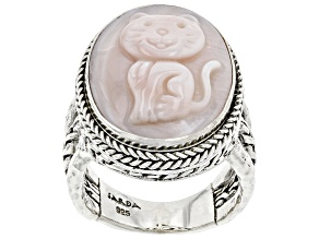 Pink Mother-of-Pearl Sterling Silver Cat Ring