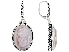 Pink Mother-of-Pearl Sterling Silver Cat Earrings