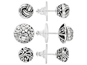 Silver Earrings & Jacket Set of Three Pairs Each